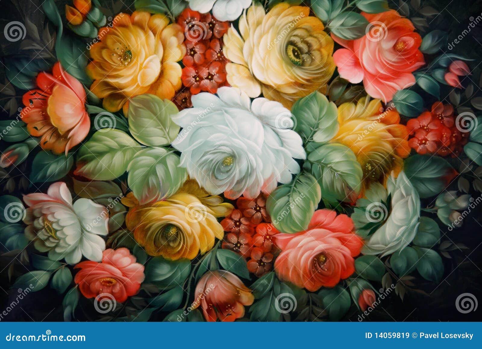 Plateau noir peint avec les configurations florales.