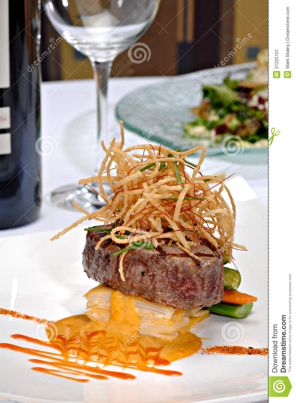 Plated Filet Mignon Stock Image - Image: 21225101