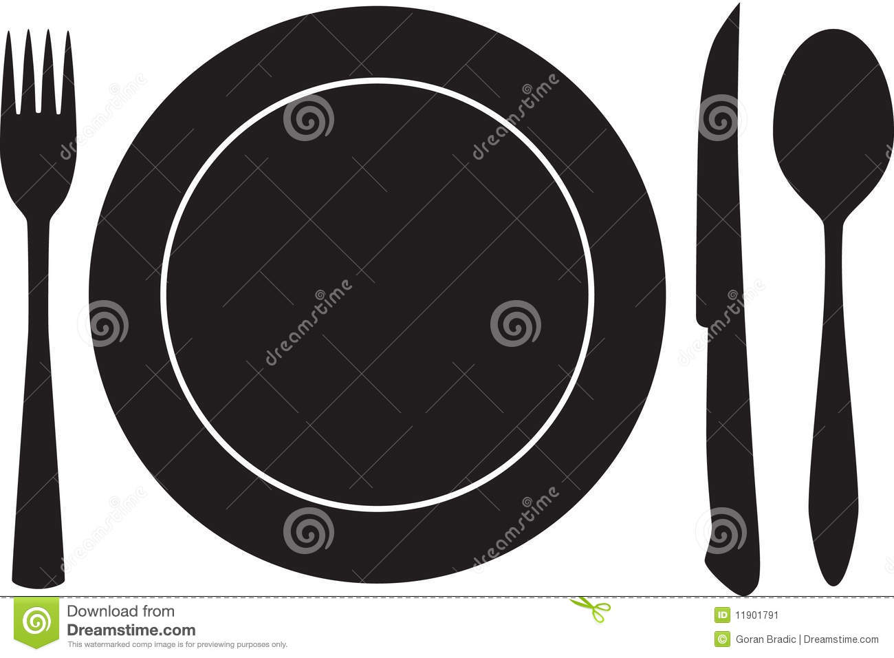 Plateful Fork Spoon And Knife Silhouette Vector Stock