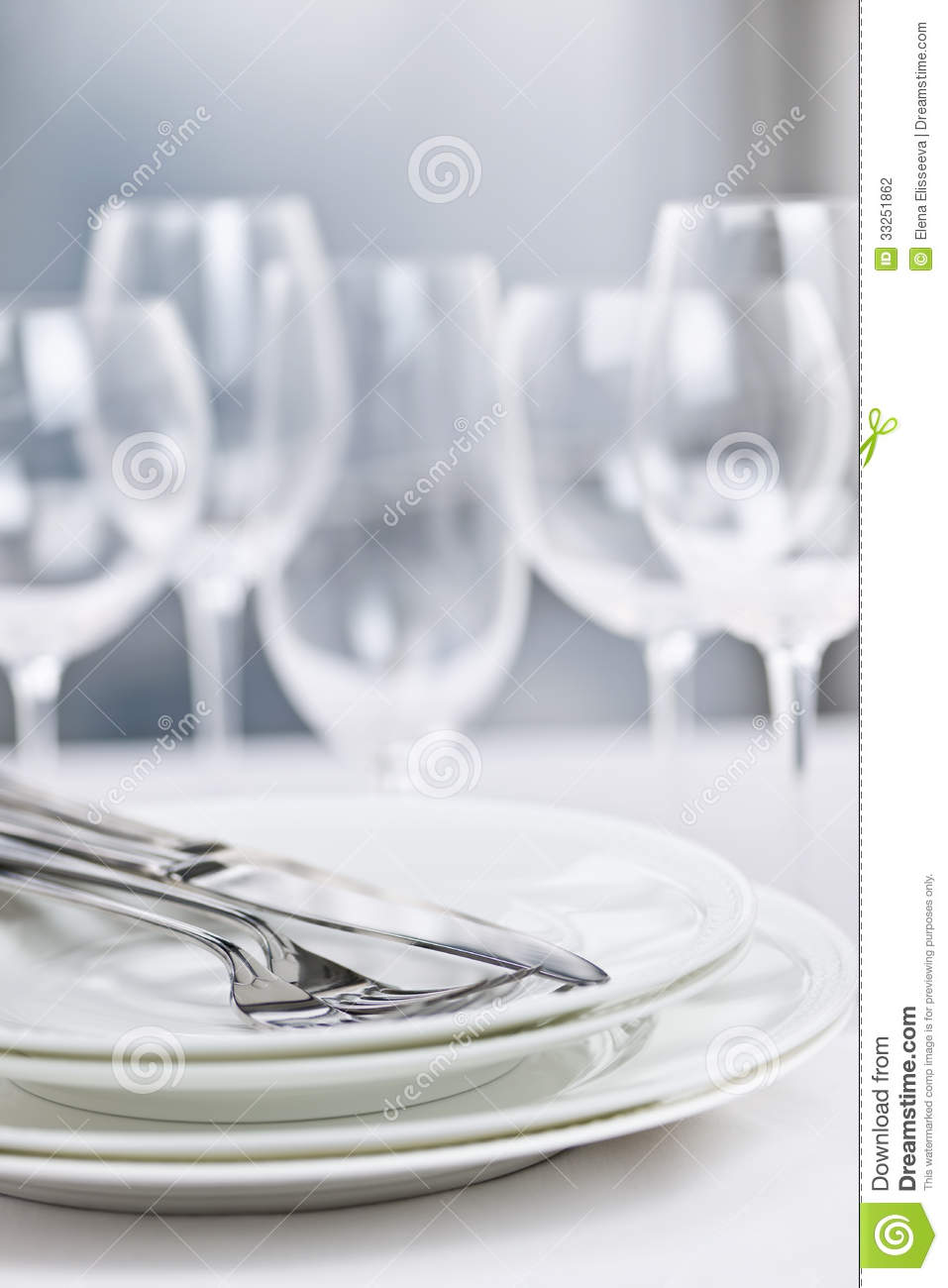 Plates and cutlery stock photo image of silver knives for Fine dining table setting