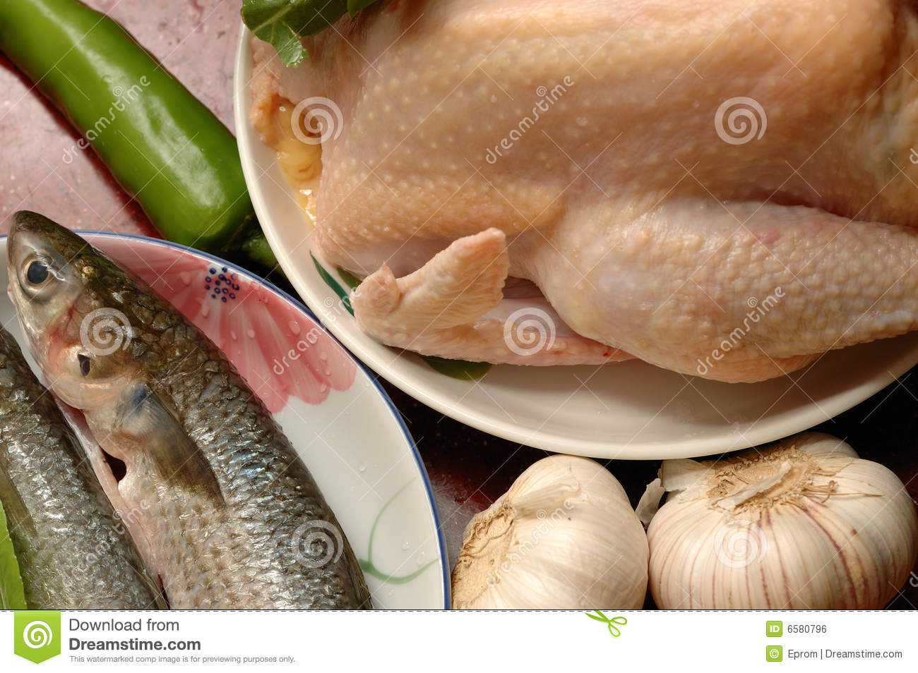 Plates of fish and chicken royalty free stock image for Fish and chicken