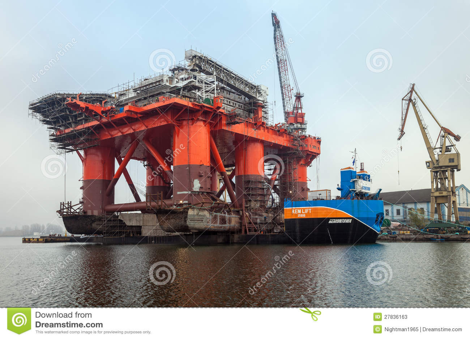 Platform on a barge