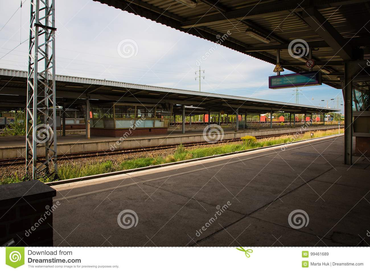 Platform of railway station in Berlin, Germany