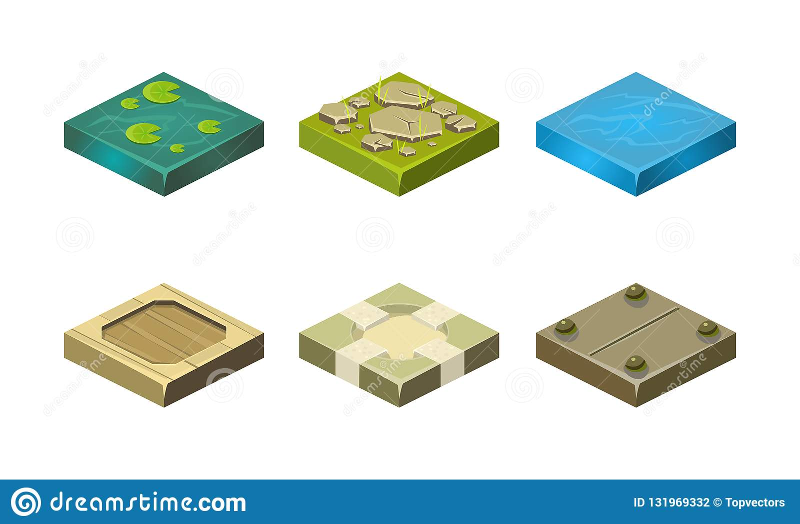 Platforms of different ground textures set, user interface assets for mobile app or video game vector Illustration on a