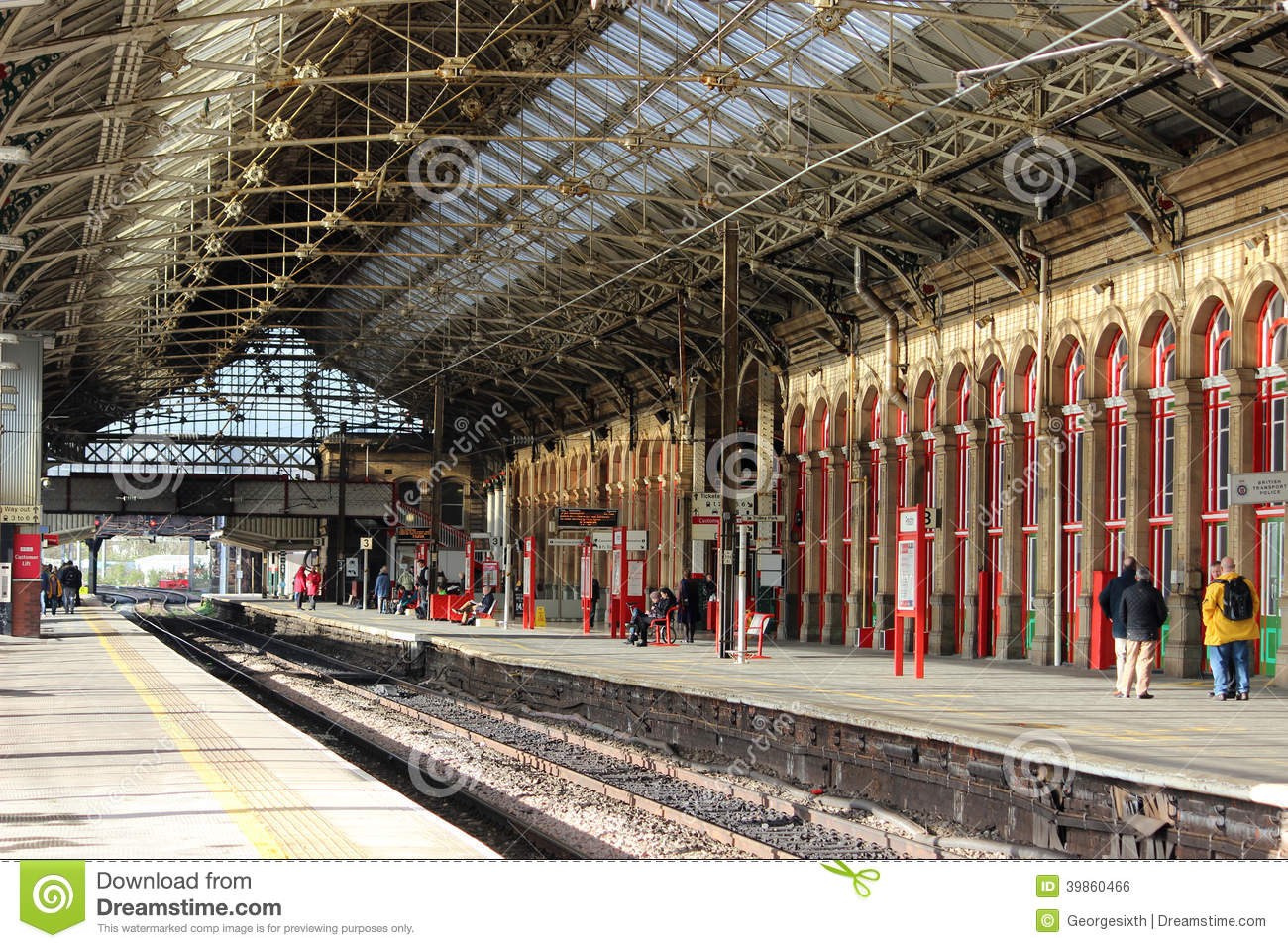 84e13854c View of the inside of Preston railway station in Lancashire, England  looking north from platform 2 with the tracks for platforms 2 & 3 and  platform 3 with ...
