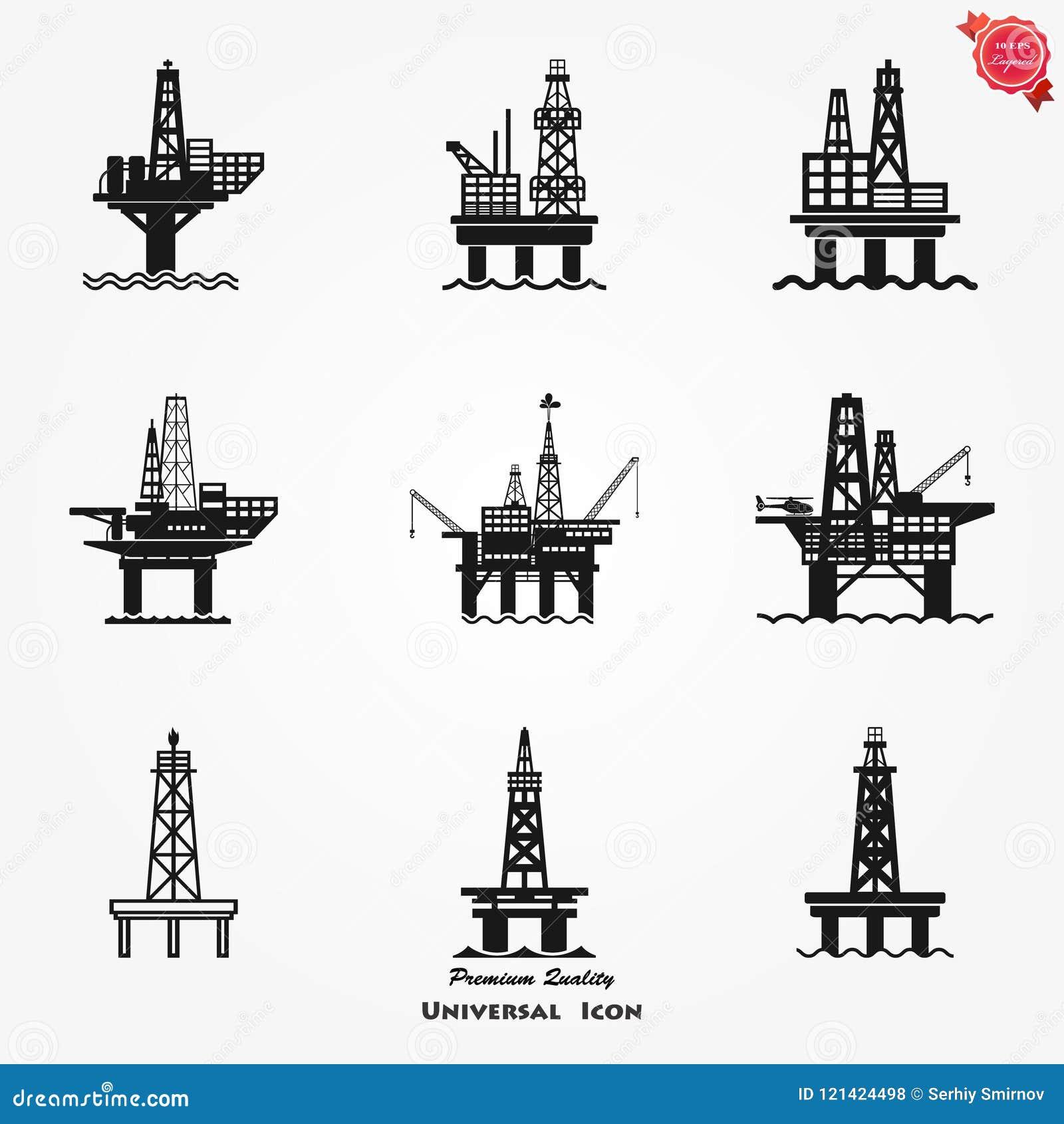Platformy wiertniczej ikona dla sieci, benzynowego Dennego takielunku Estradowa ilustracja, paliwowy produkcja symbol