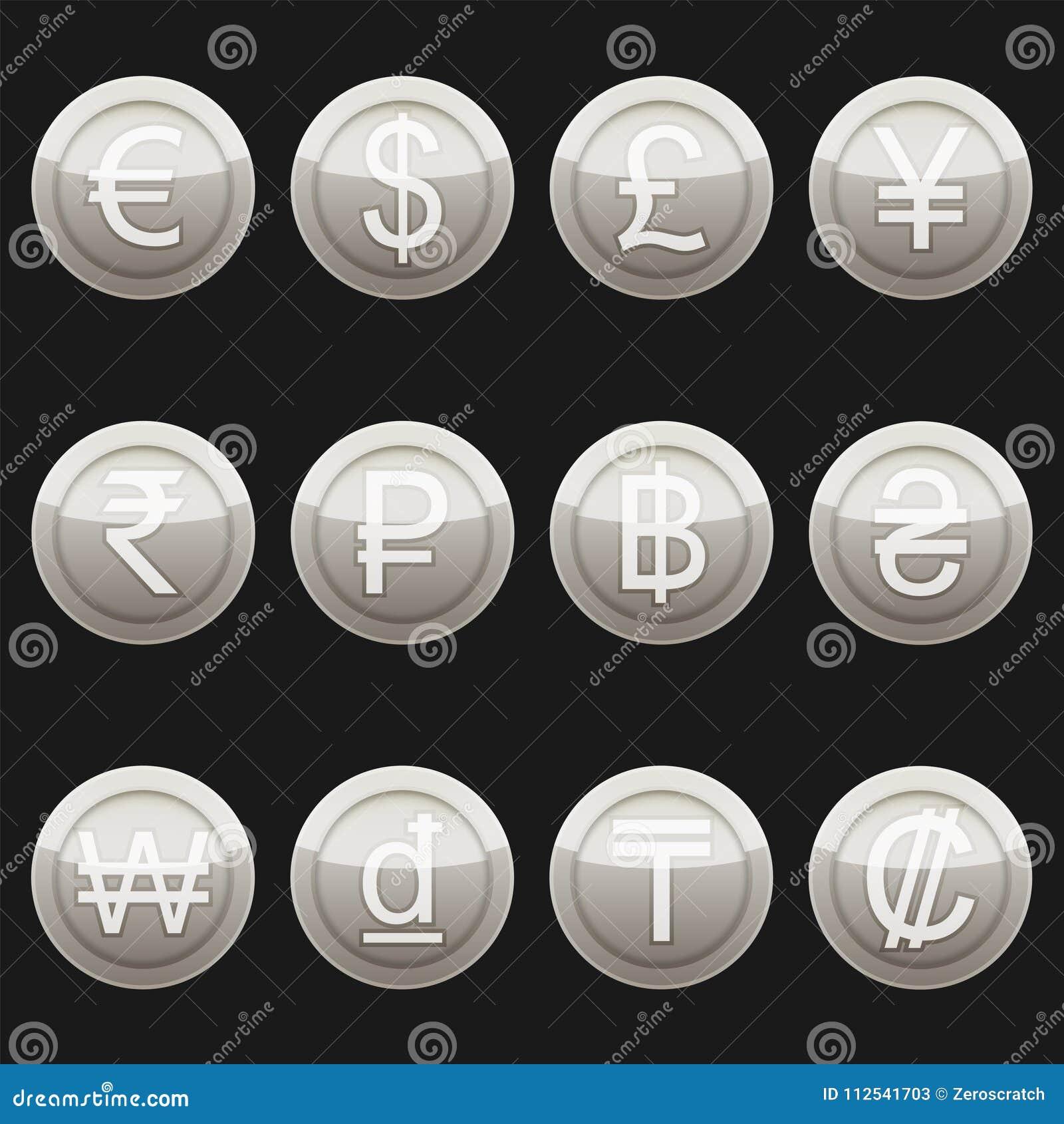 1a82b81dffc0 Platino metálico de los iconos de los símbolos de las monedas de la moneda  con los