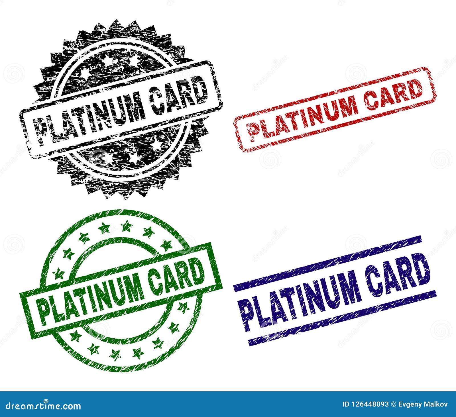 Scratched Textured PLATINUM CARD Stamp Seals Stock Vector