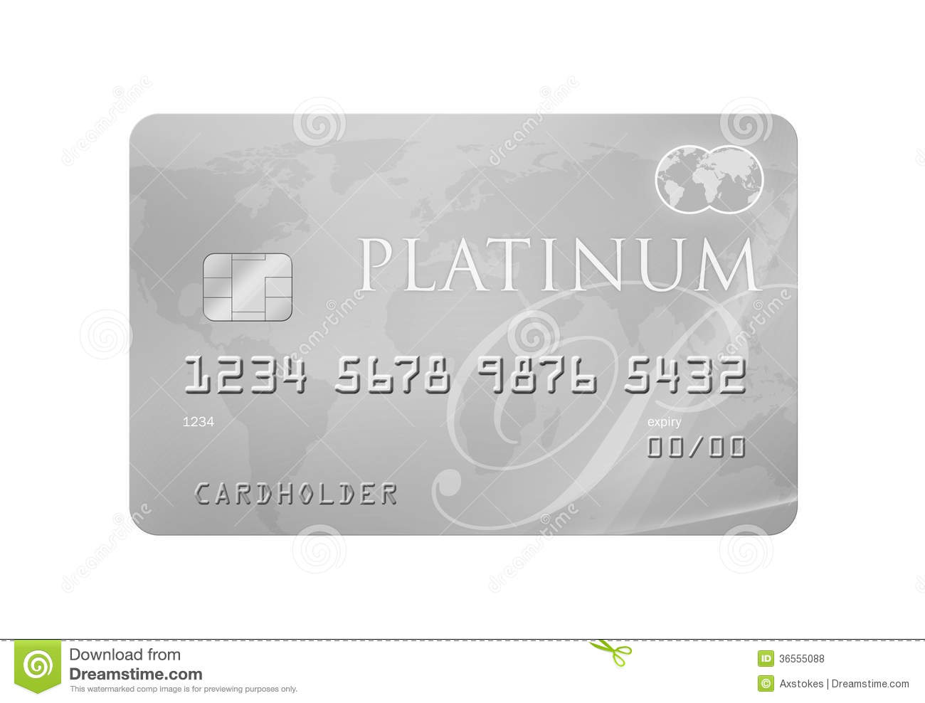 Platinum Credit/Debit Card with world map on the background with ...