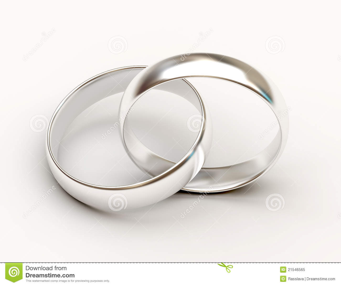 Platinum Wedding Rings On White Background Stock Illustration