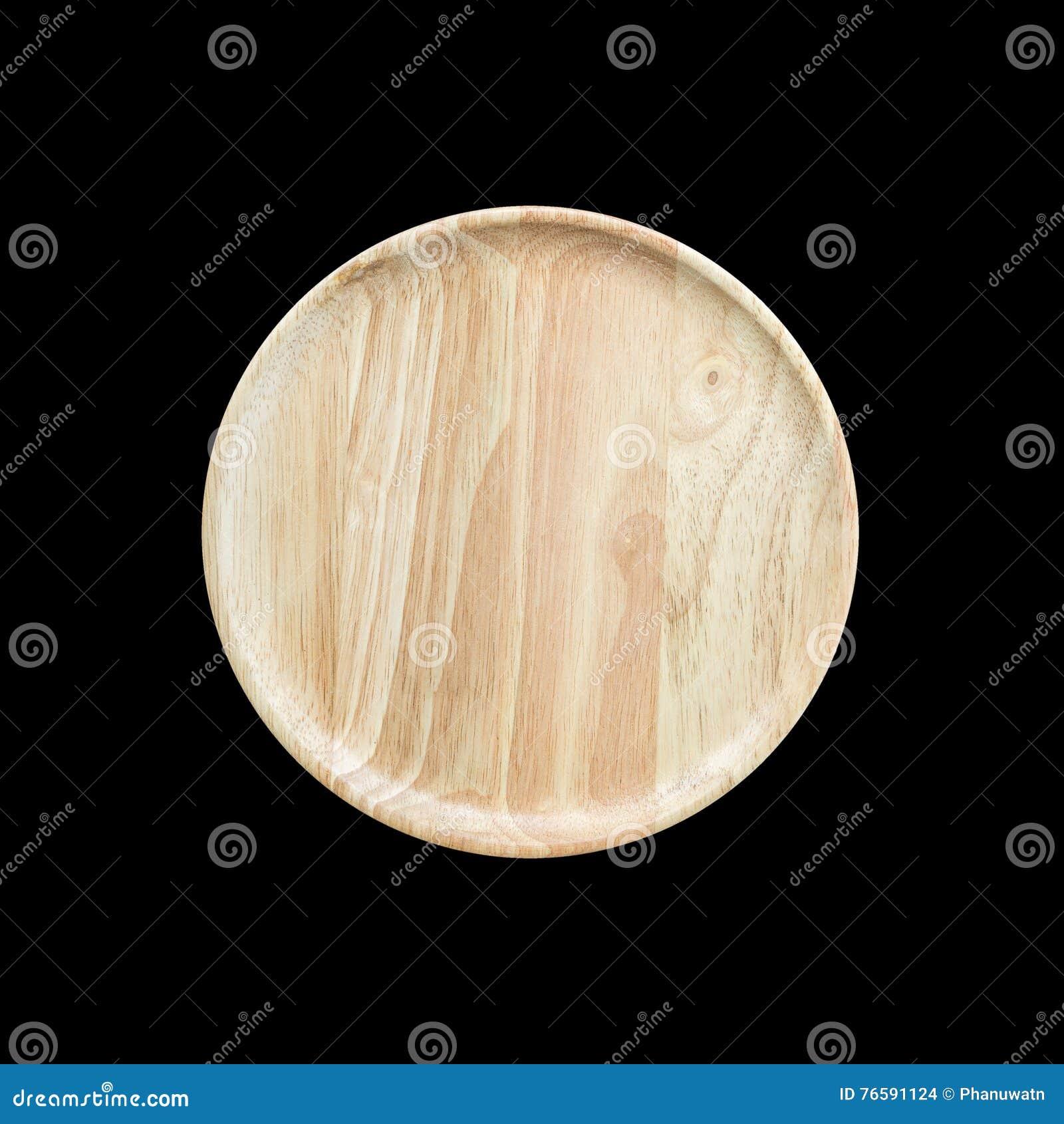 Plato de madera vacío brillante de la visión superior aislado en blanco Ahorrado con
