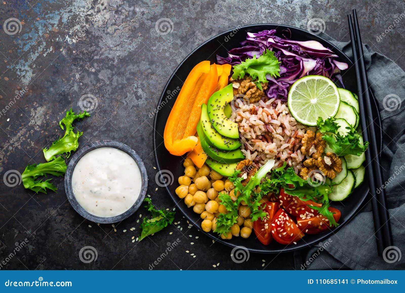 Plato del cuenco de Buda con arroz moreno, el aguacate, la pimienta, el tomate, el pepino, la col roja, el garbanzo, la ensalada