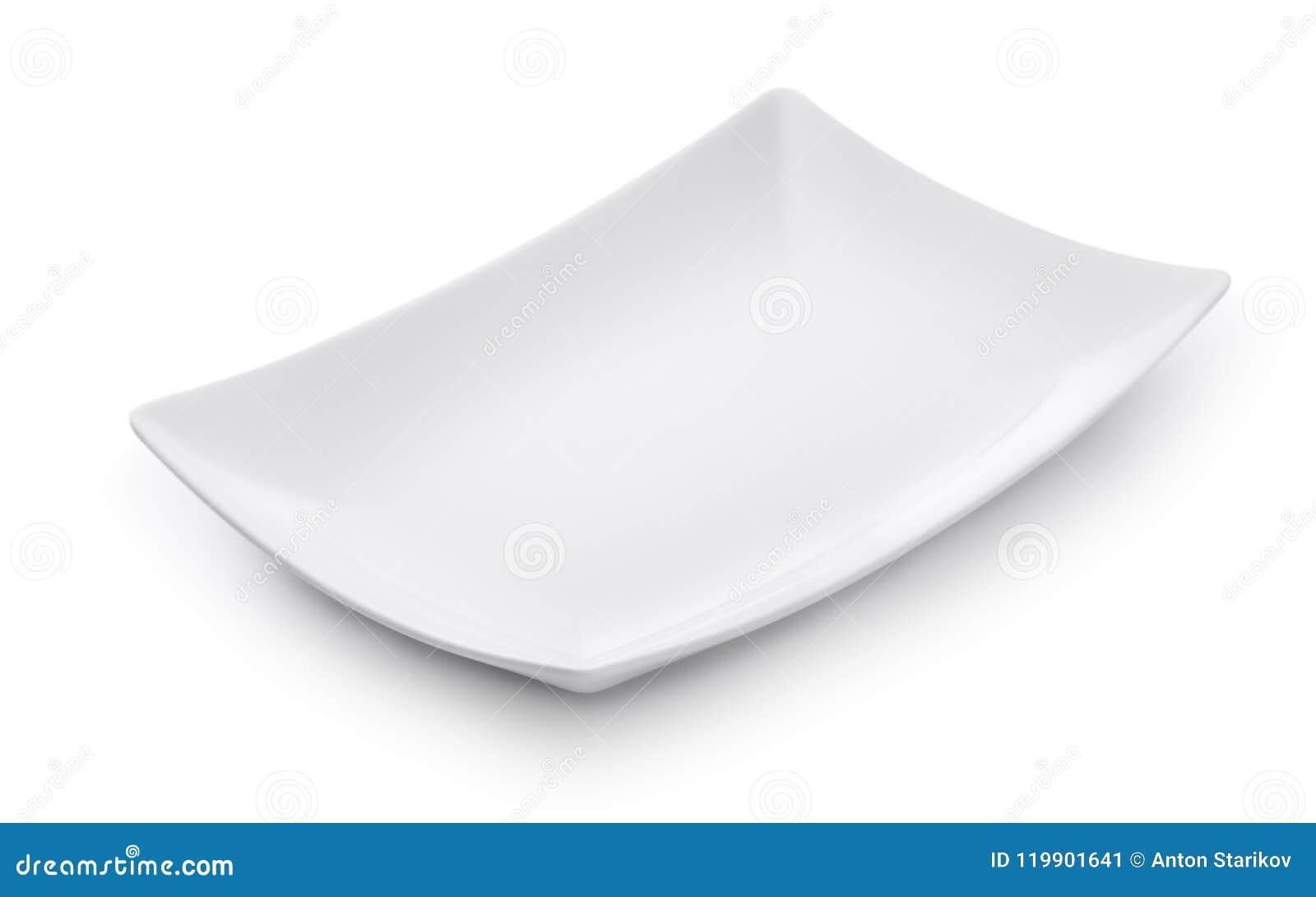 Plato rectangular vacío blanco