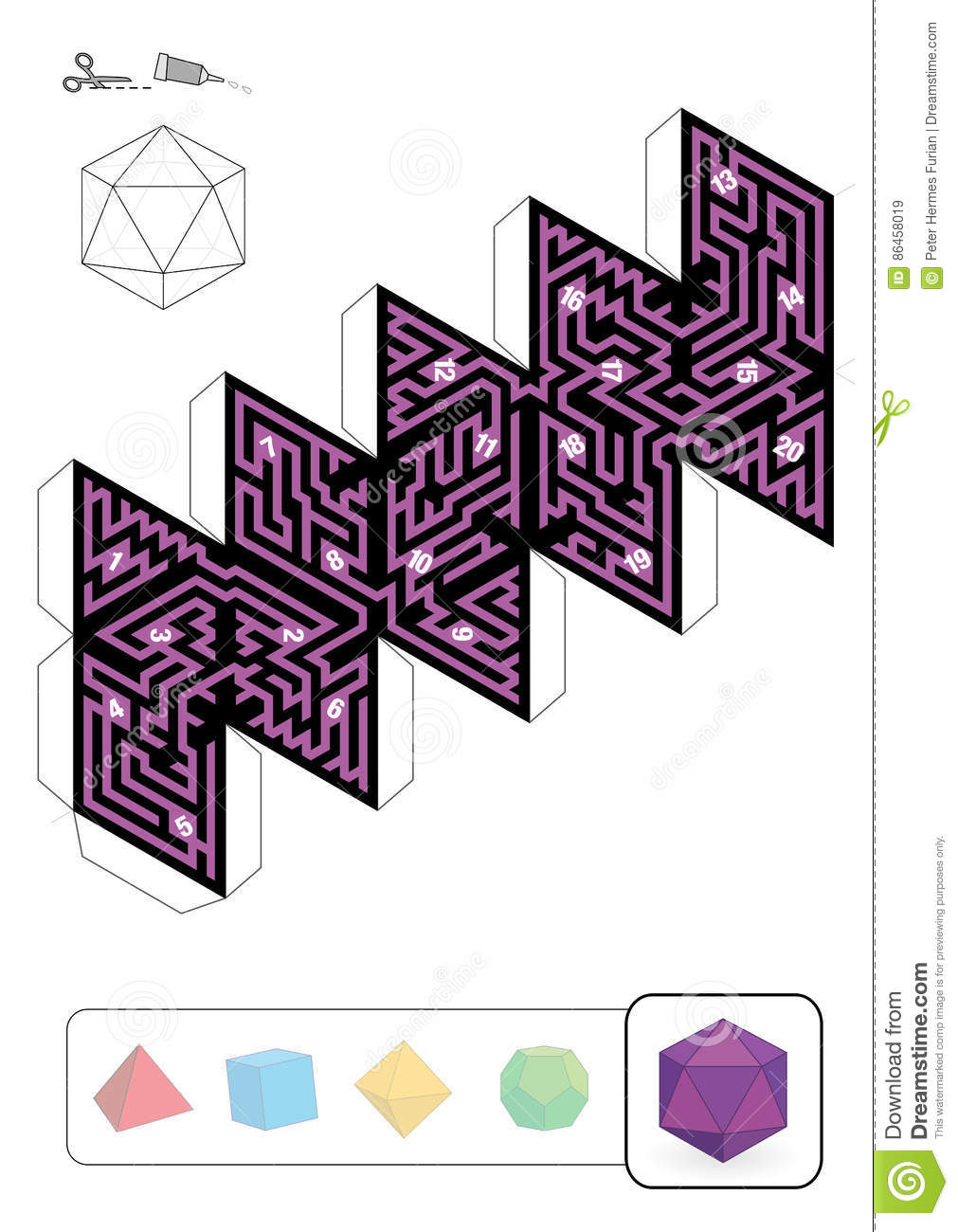 Platonic Solid Icosahedron Maze Stock Vector Illustration Of