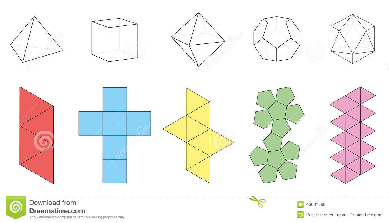Five platonic solids  three-dimensional figures and corresponding nets    Platonic Solid Net