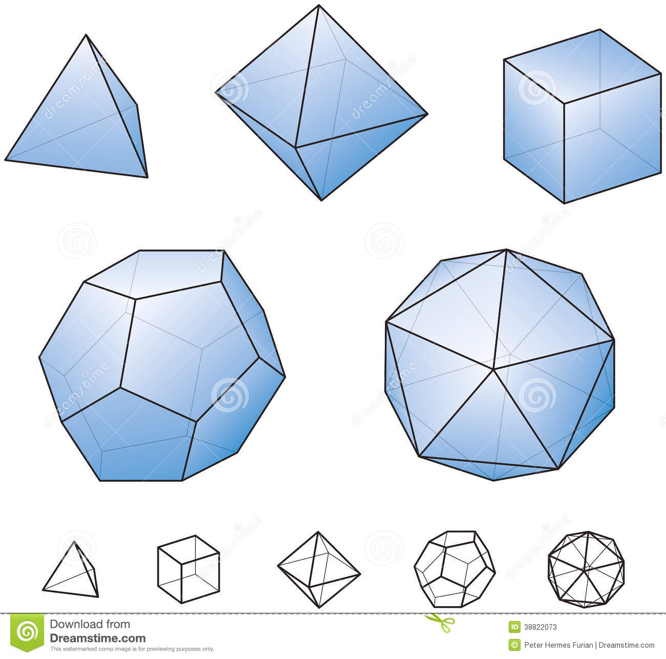 Platonic Solids With Green Surfaces Stock Vector - Illustration of ...