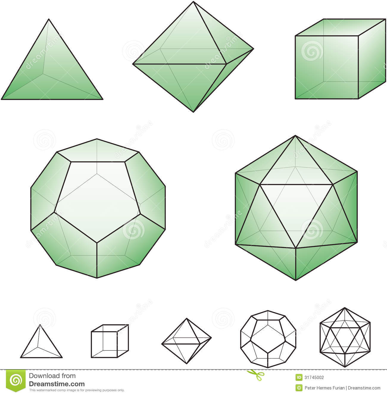 Platonic Solids With Green Surfaces Stock Vector Illustration Of