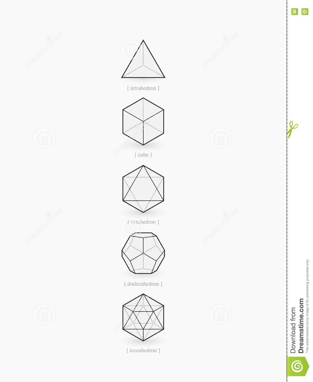 Platonic Solids Line Design Stock Vector Illustration Of Pyramid