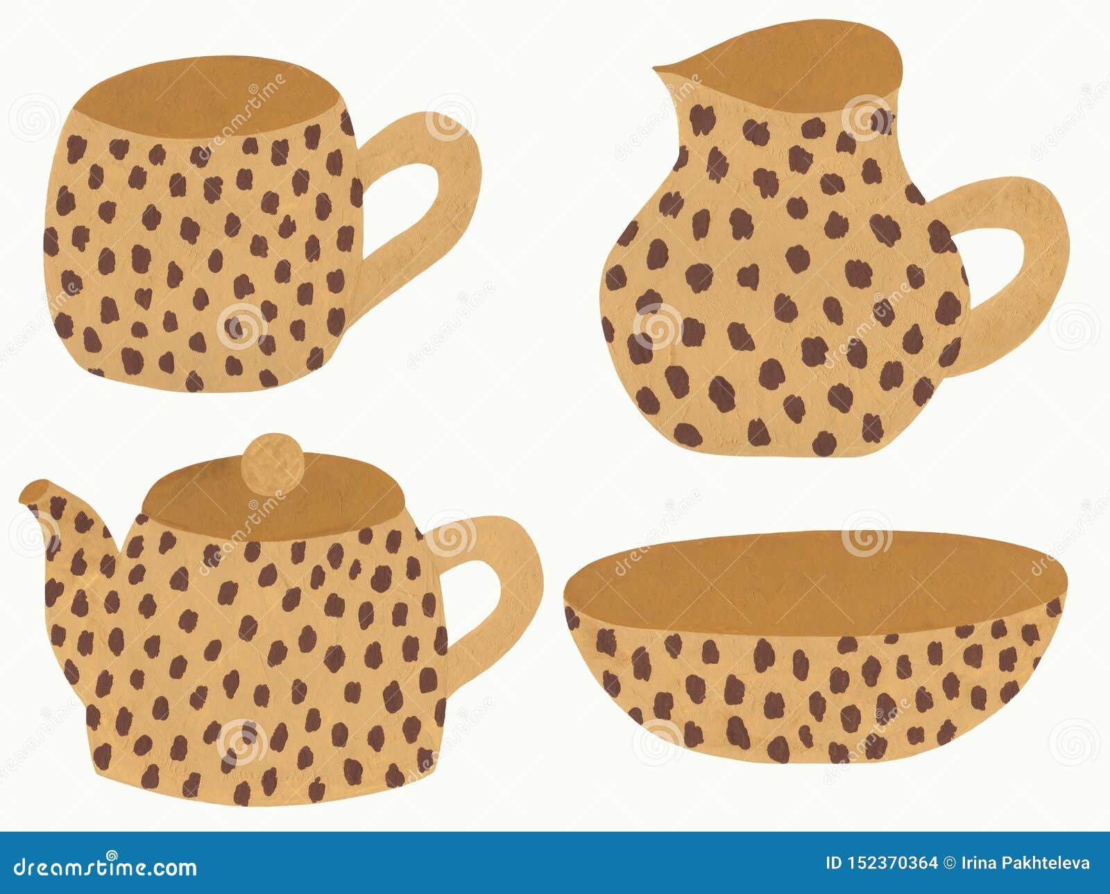 Platos beige con el estampado leopardo
