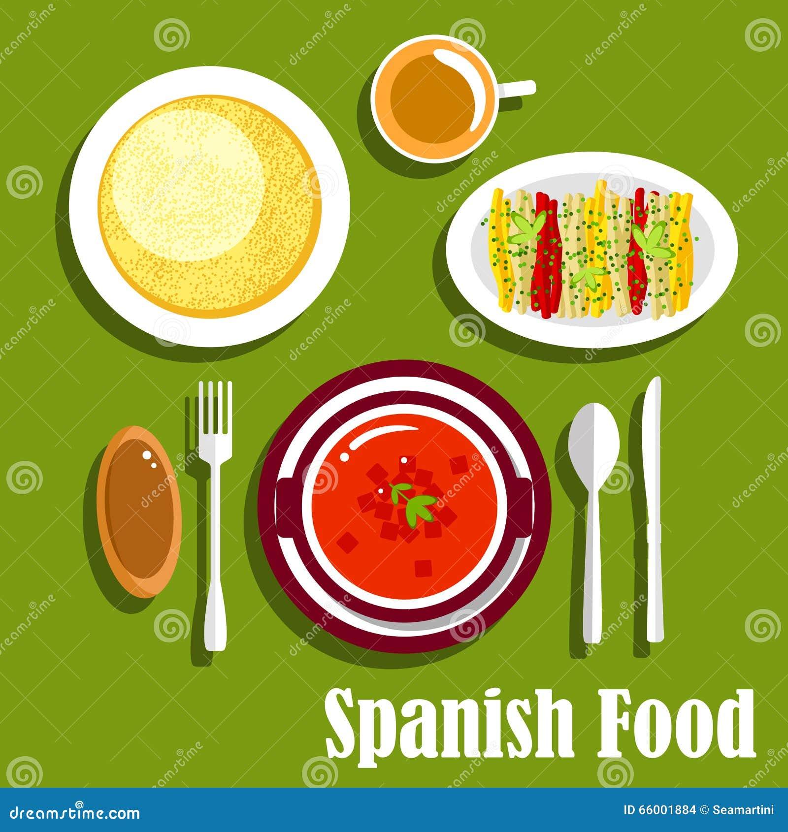 Platos Vegetarianos De La Cocina Española Ilustración del Vector ...