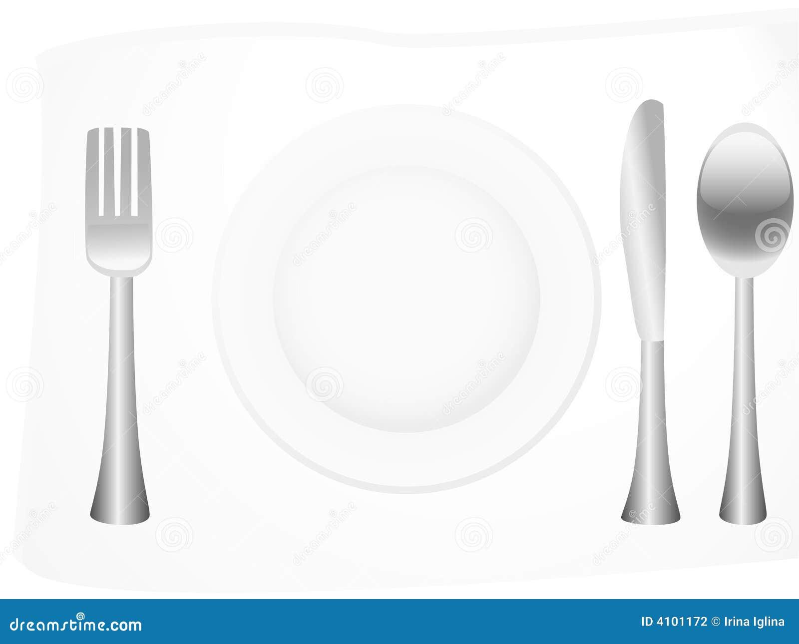 Platos y cubiertos de plata ilustraci n del vector for Cubiertos de plata precio