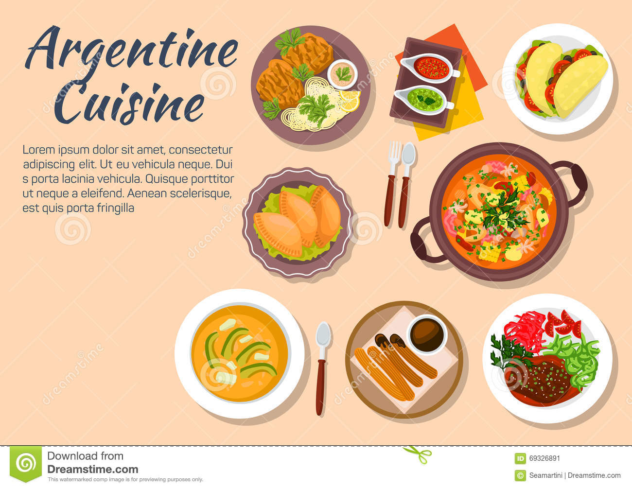 Plats authentiques de cuisine de l 39 argentine illustration for Artistic argentinean cuisine