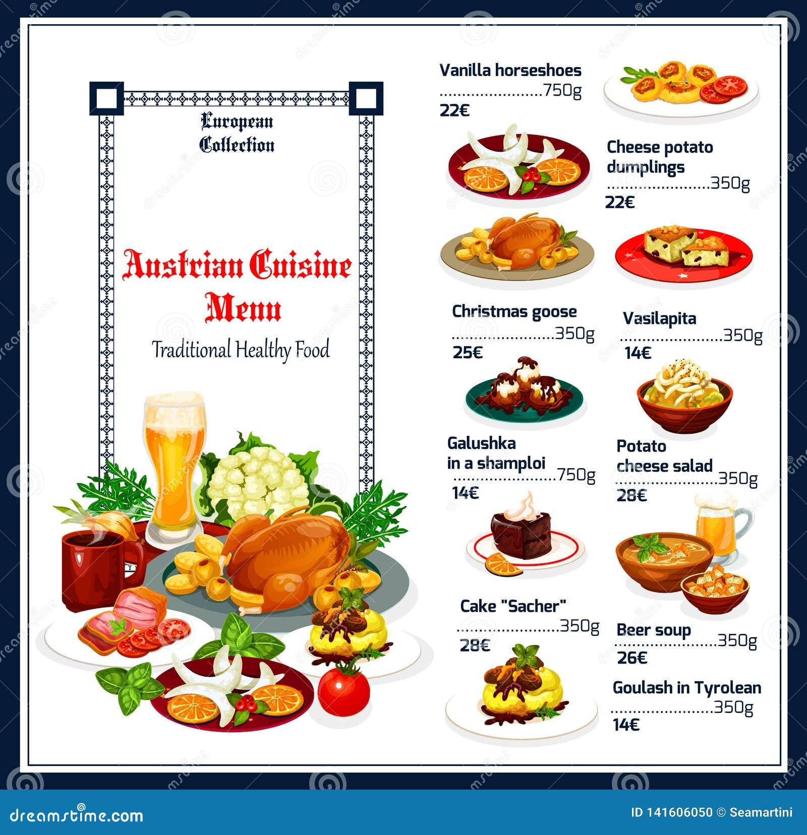 Plats Autrichiens Traditionnels De Menu De Cuisine Illustration De