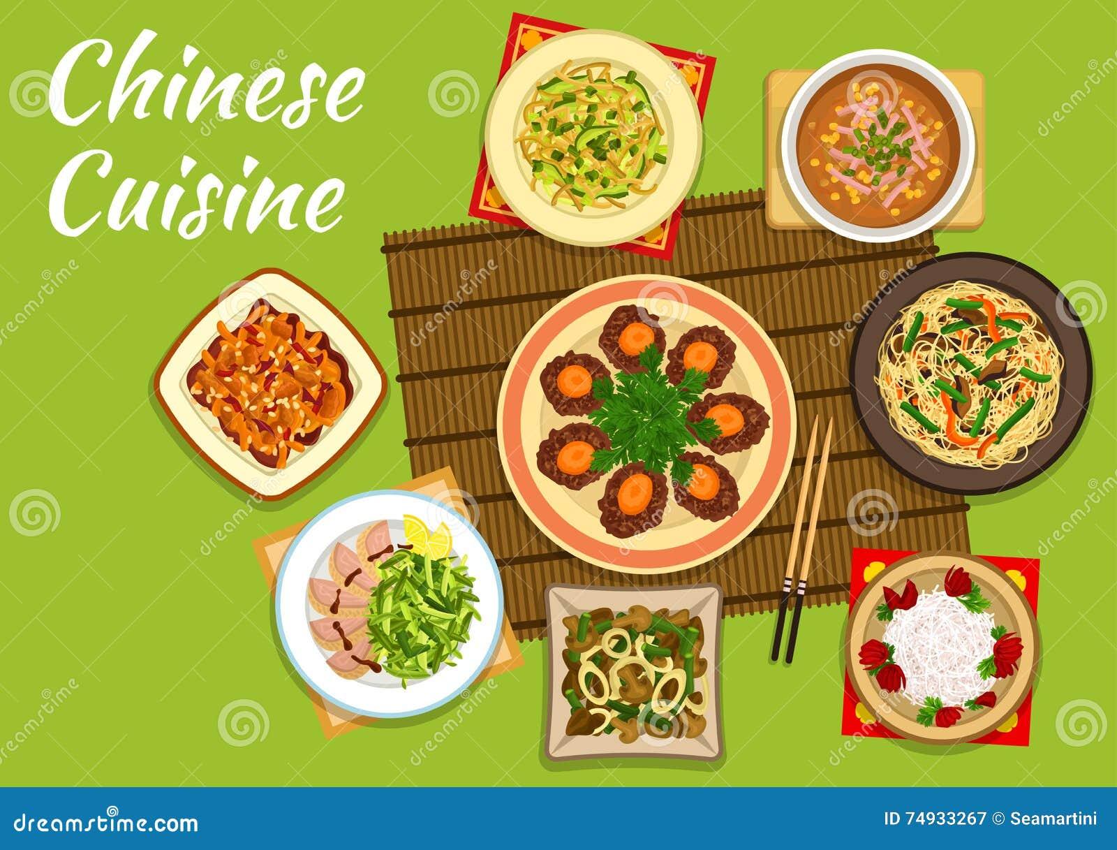 plats chinois nationaux de cuisine pour la conception de menu illustration de vecteur. Black Bedroom Furniture Sets. Home Design Ideas