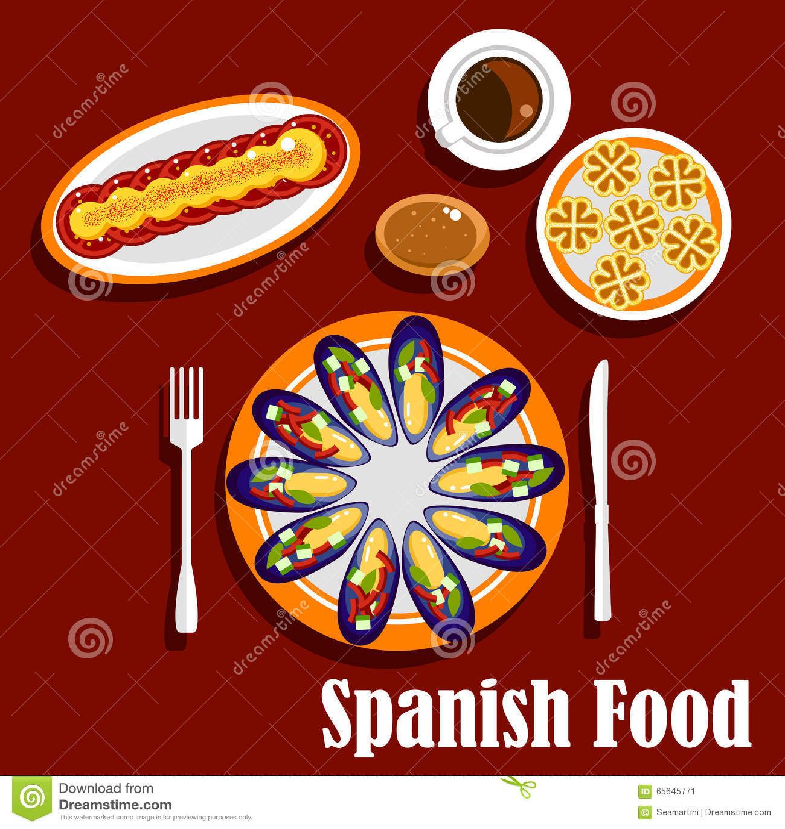 Plats et boissons espagnols traditionnels de fruits de mer