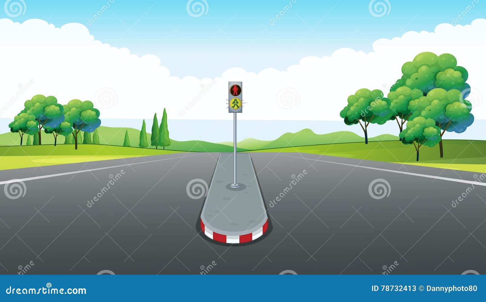 Plats med den tom vägen och trafikljus