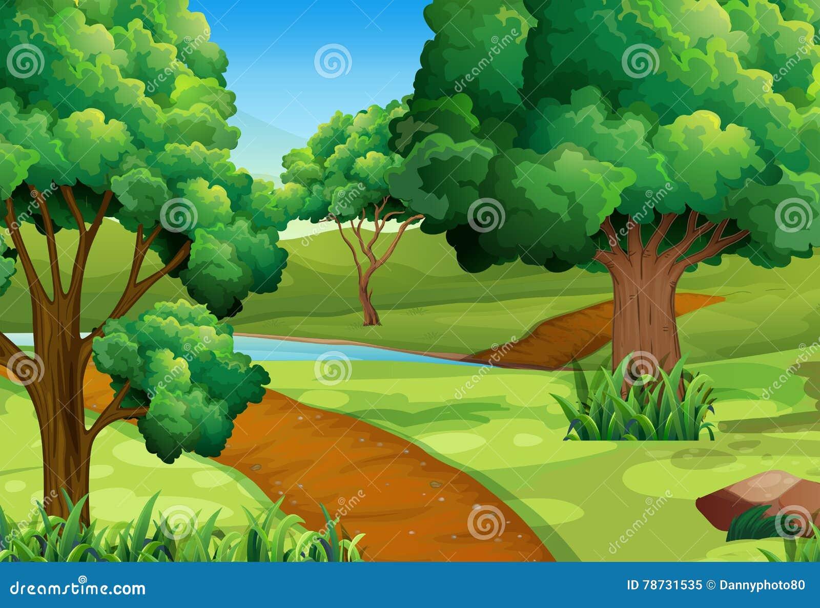 Plats med träd längs slingan