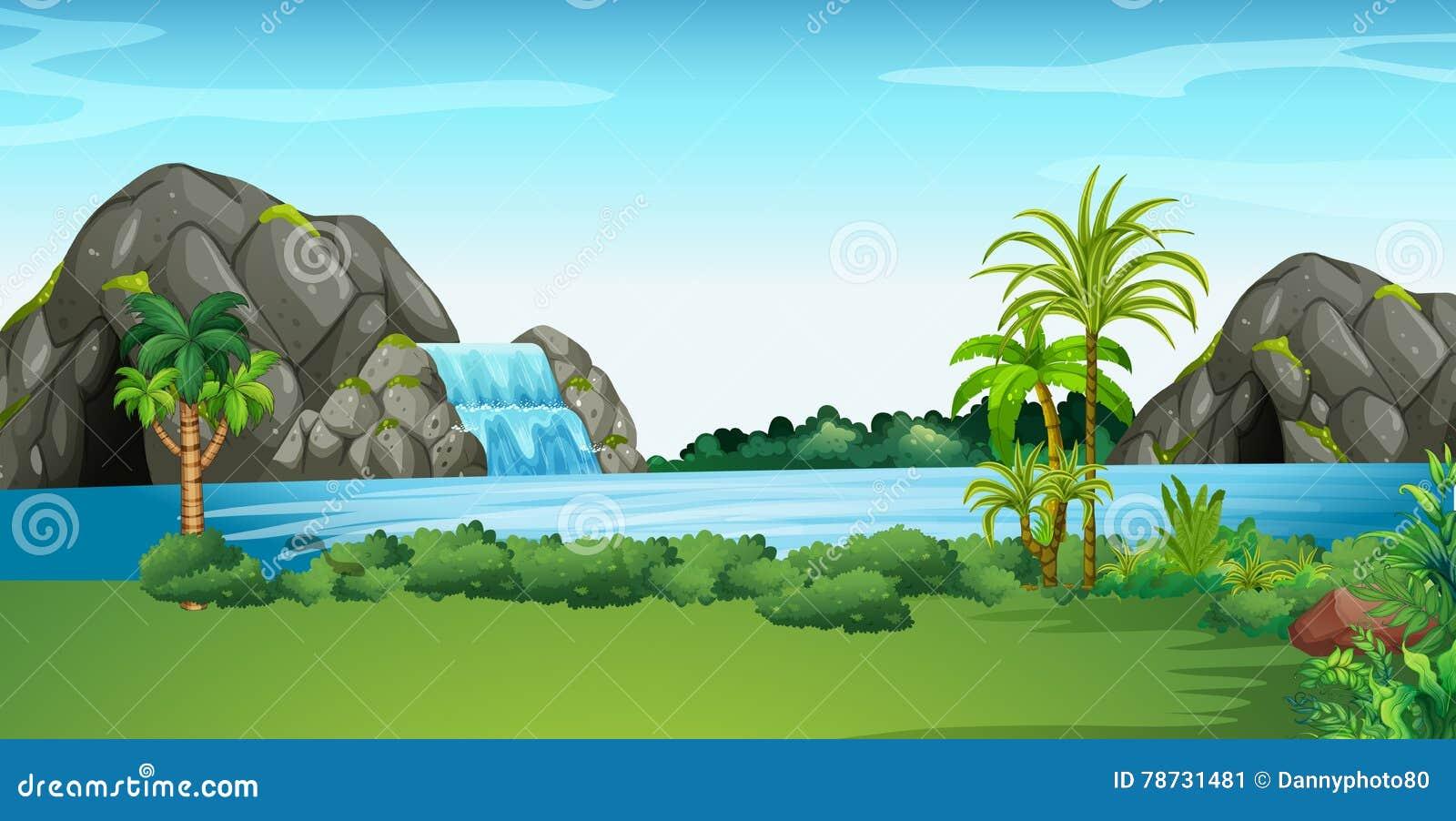 Plats med vattenfallet och fältet