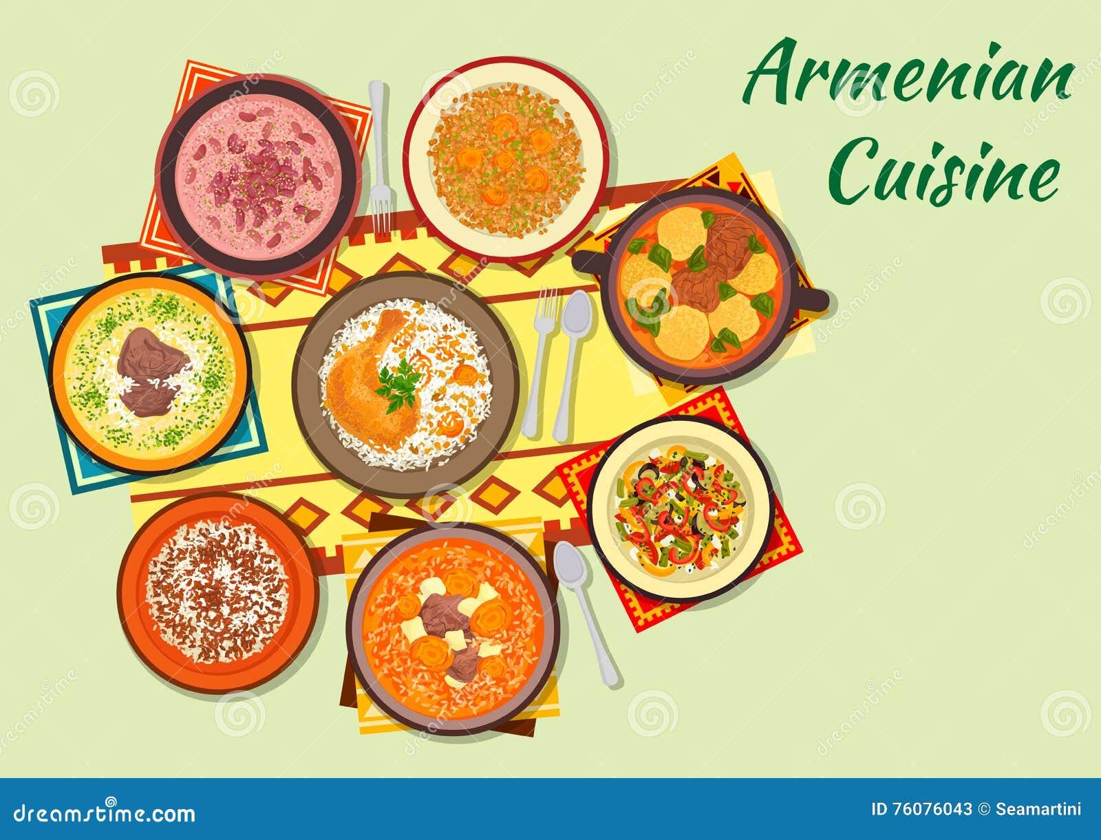 Plats riches et savoureux d icône arménienne de cuisine