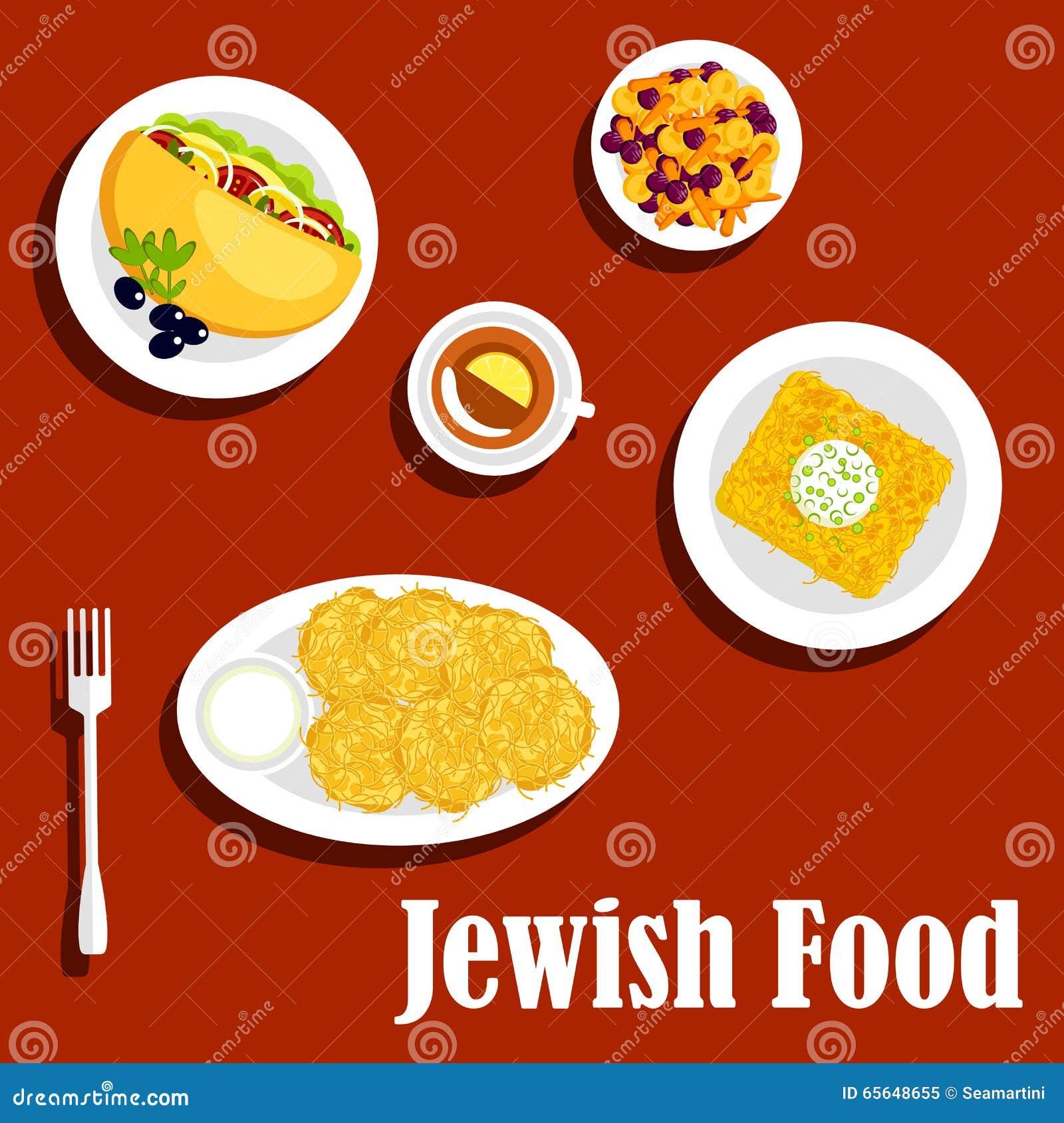 Plats végétariens et pâtisserie de cuisine juive