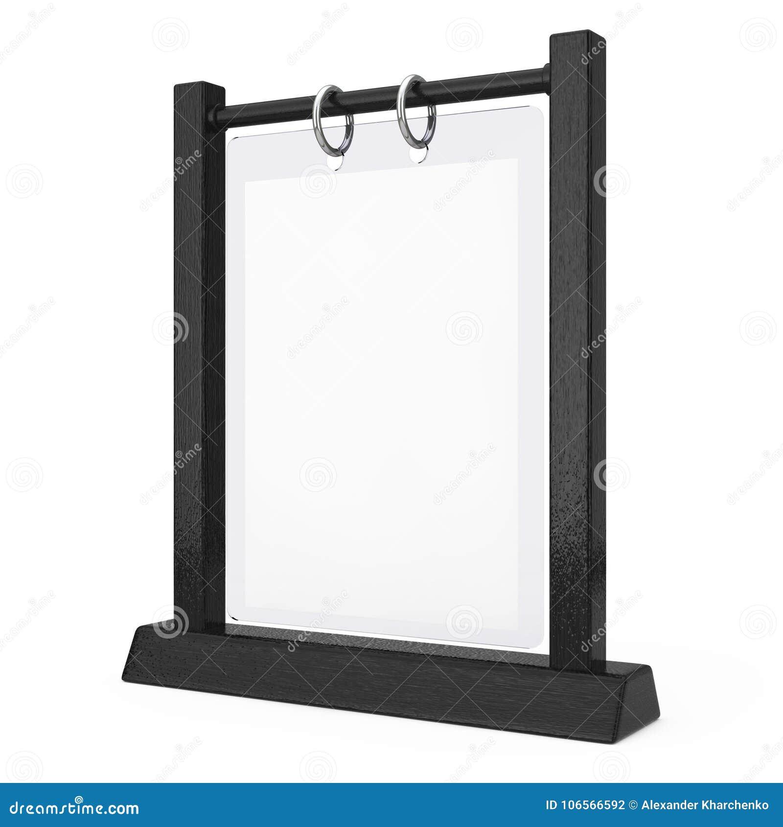 Platta Flip Menu Card för tabell för svart trävitmellanrum genomskinlig