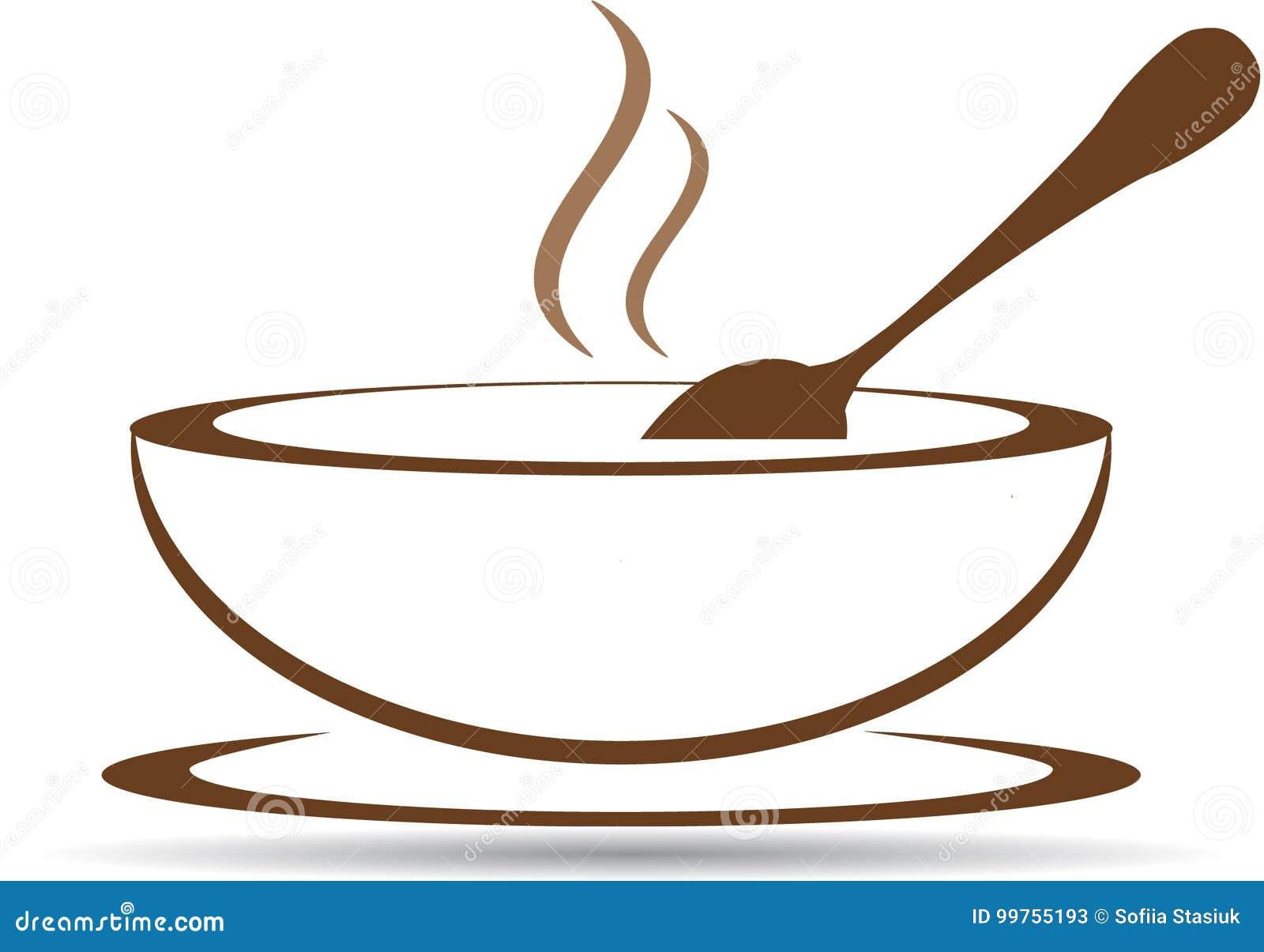 Platta med varm soppa i vektor