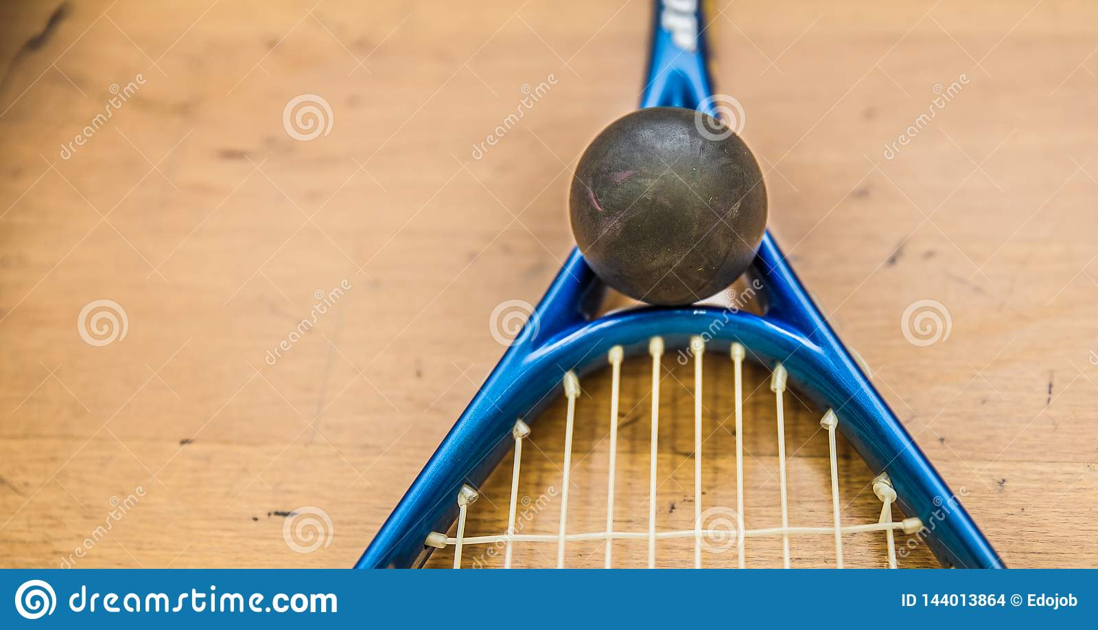 Platta till bollen på domstolen med squashracket som är klar att spela den nya leken