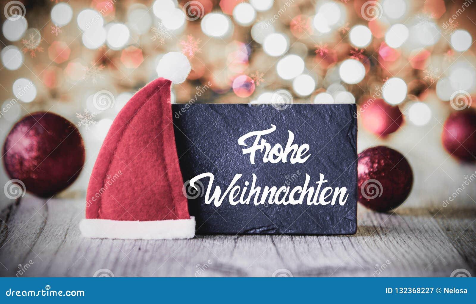 Plattan kalligrafi Frohe Weihnachten betyder glad jul, Santa Claus Hat