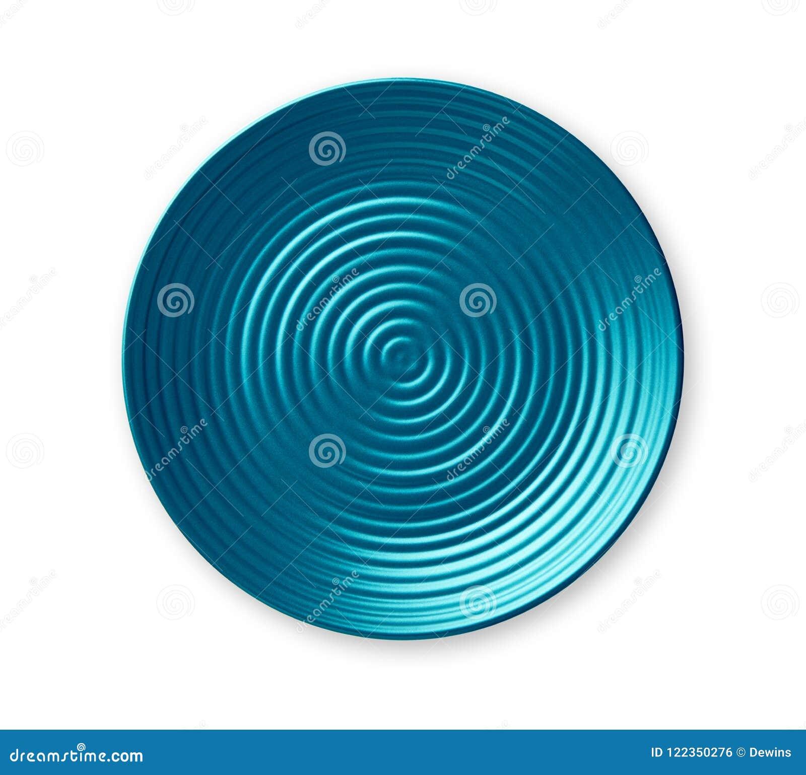 Platte der konzentrischen Kreise, leere blaue keramische Platte im gewellten Profil, Ansicht von oben lokalisiert auf weißem Hint