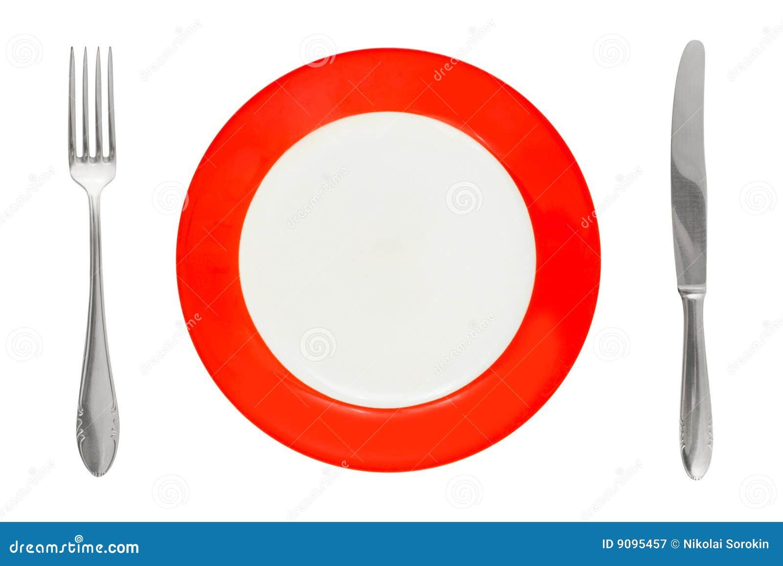 Platte, Gabel und Messer