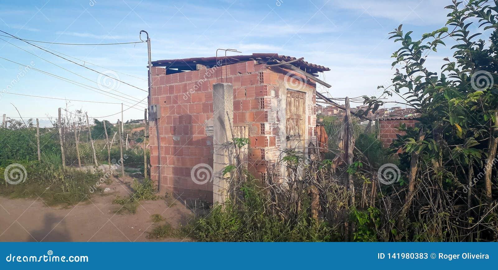 Plattelandshuisje op landelijke plaats, binnenlands van Pernambuco, Brazilië