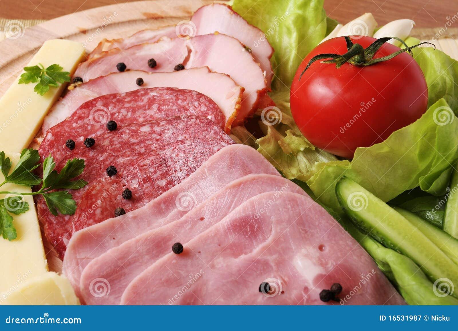 Platter ζαμπόν λαχανικά