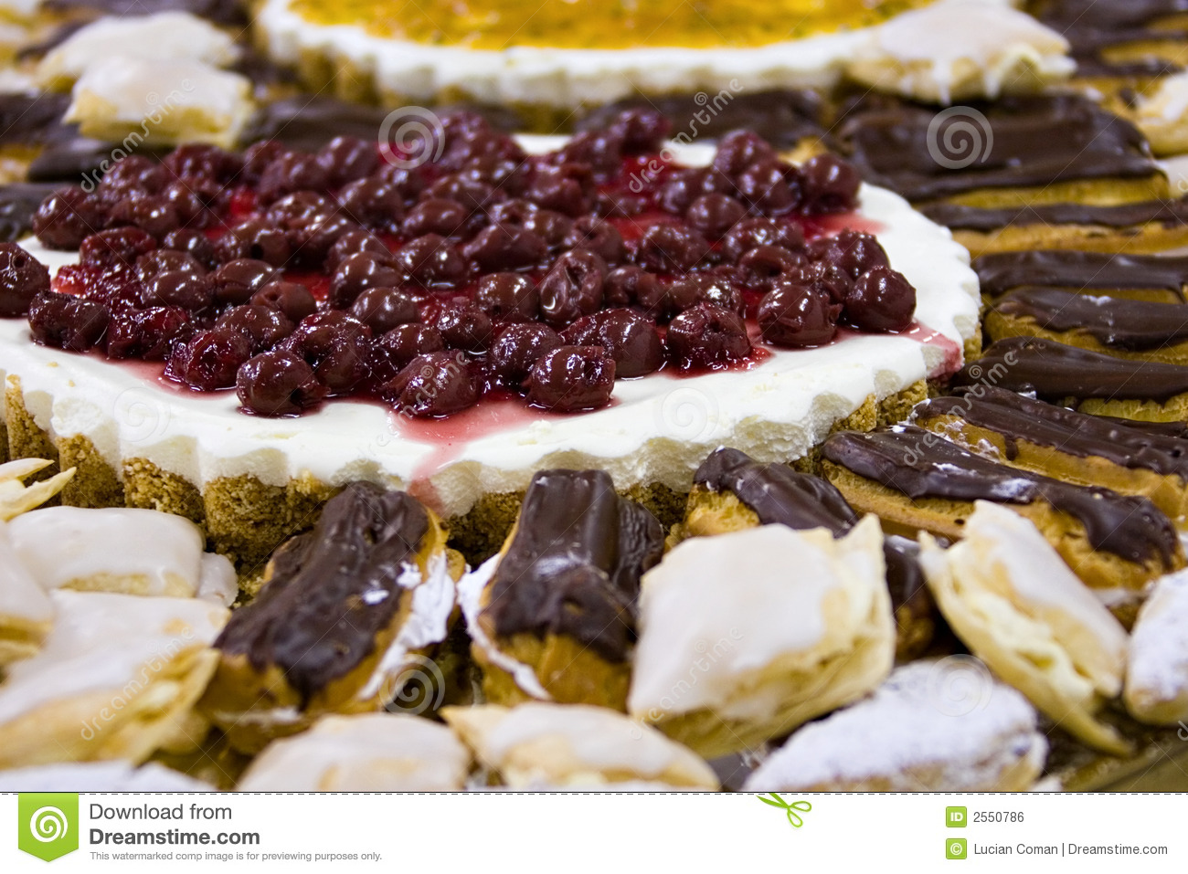 Birthday platter with cheese cake biscuit base, cherries and ...