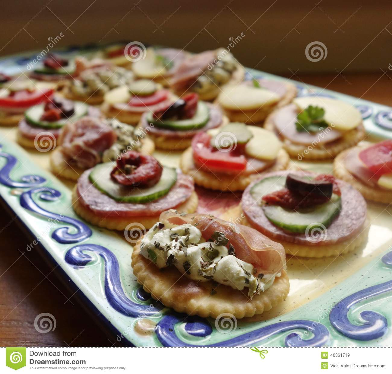 Platter of canapes stock image image of leaf round for Canape platters