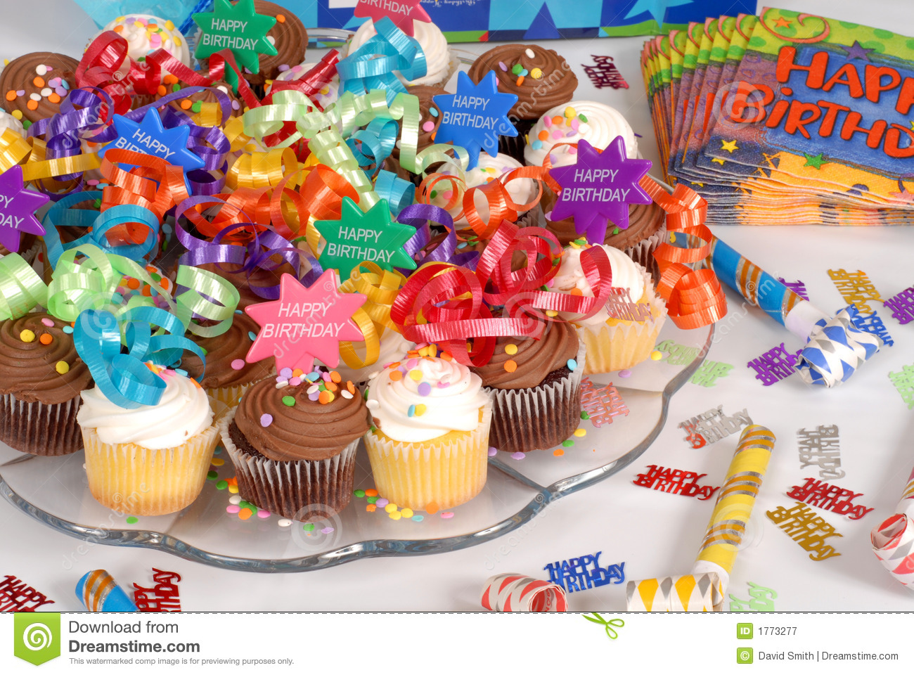 Platter Of Cupcakes Decorated With Happy Birthday Theme Royalty Free ...