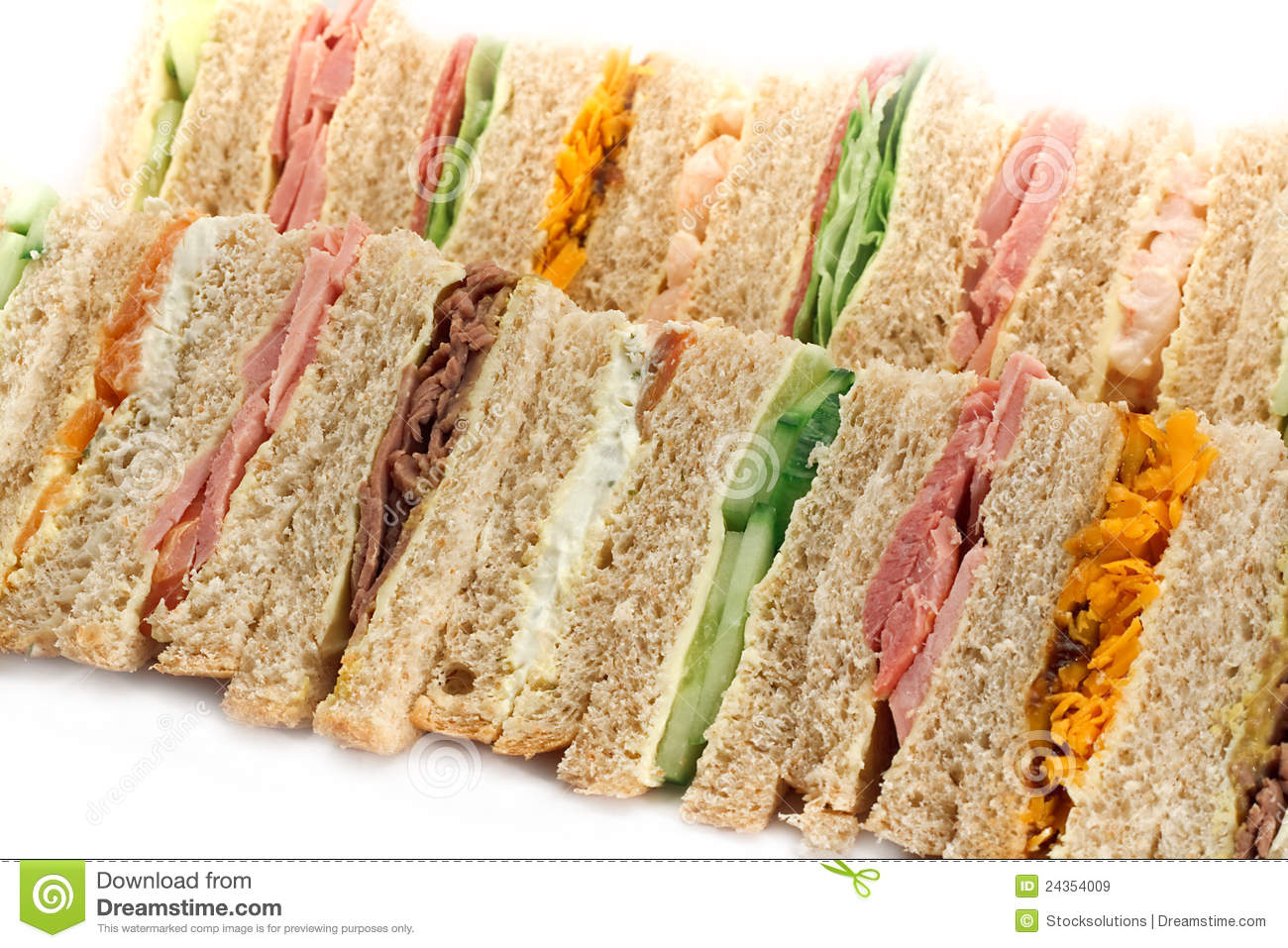 A Platter Of Triangular Sandwiches Royalty Free Stock