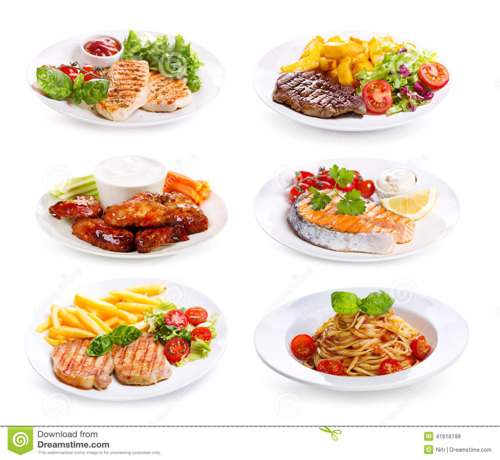 Plattor av den olik kött, fisken och höna