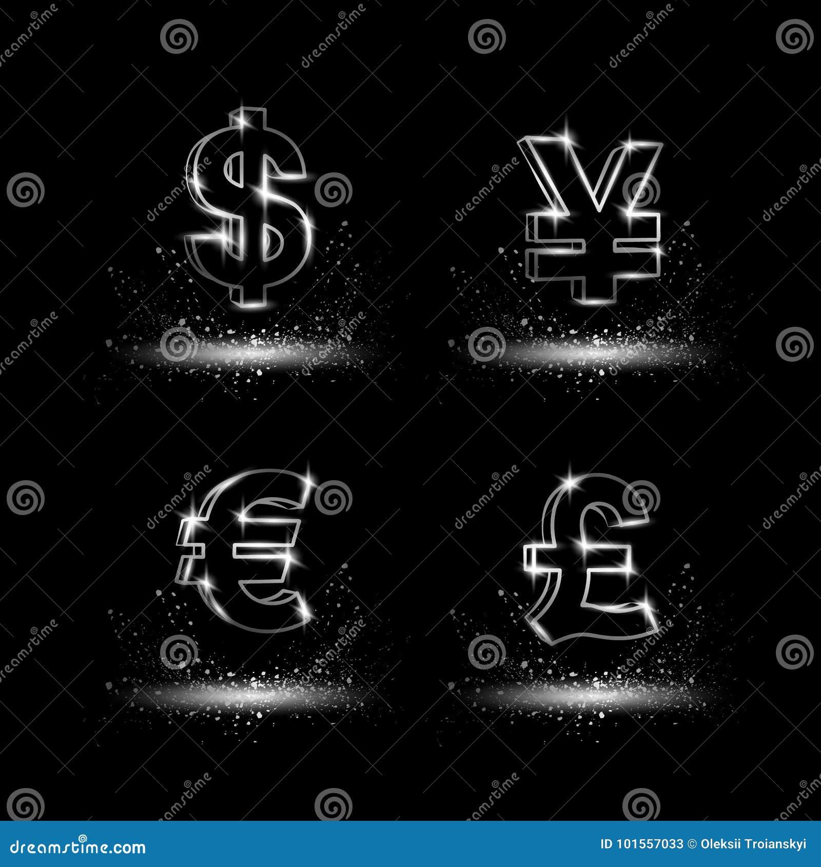 Platyny waluty symbole ustawiający Waluty liniowa wektorowa ilustracja na czarnym tle