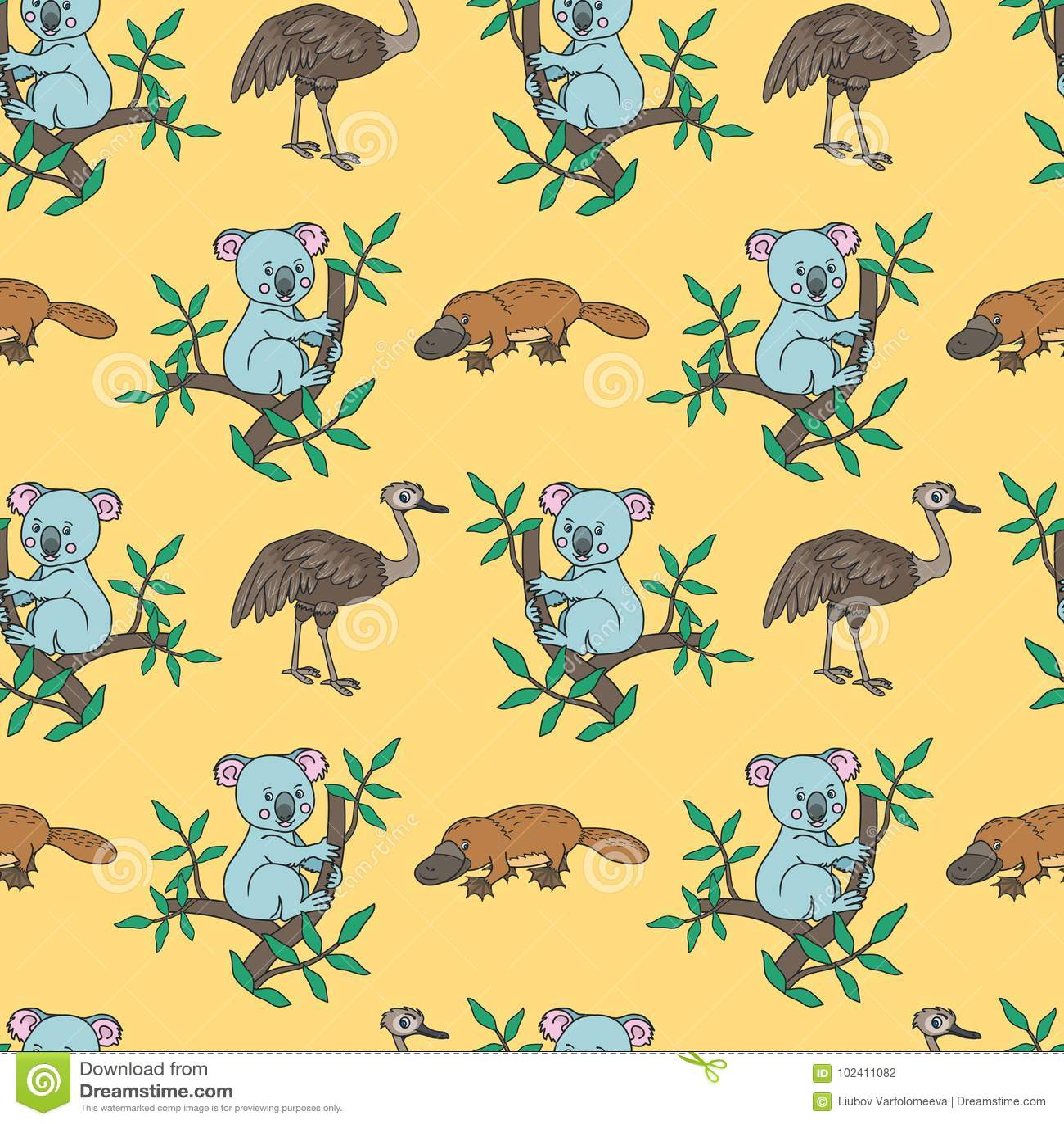 Platypus, struś, koala
