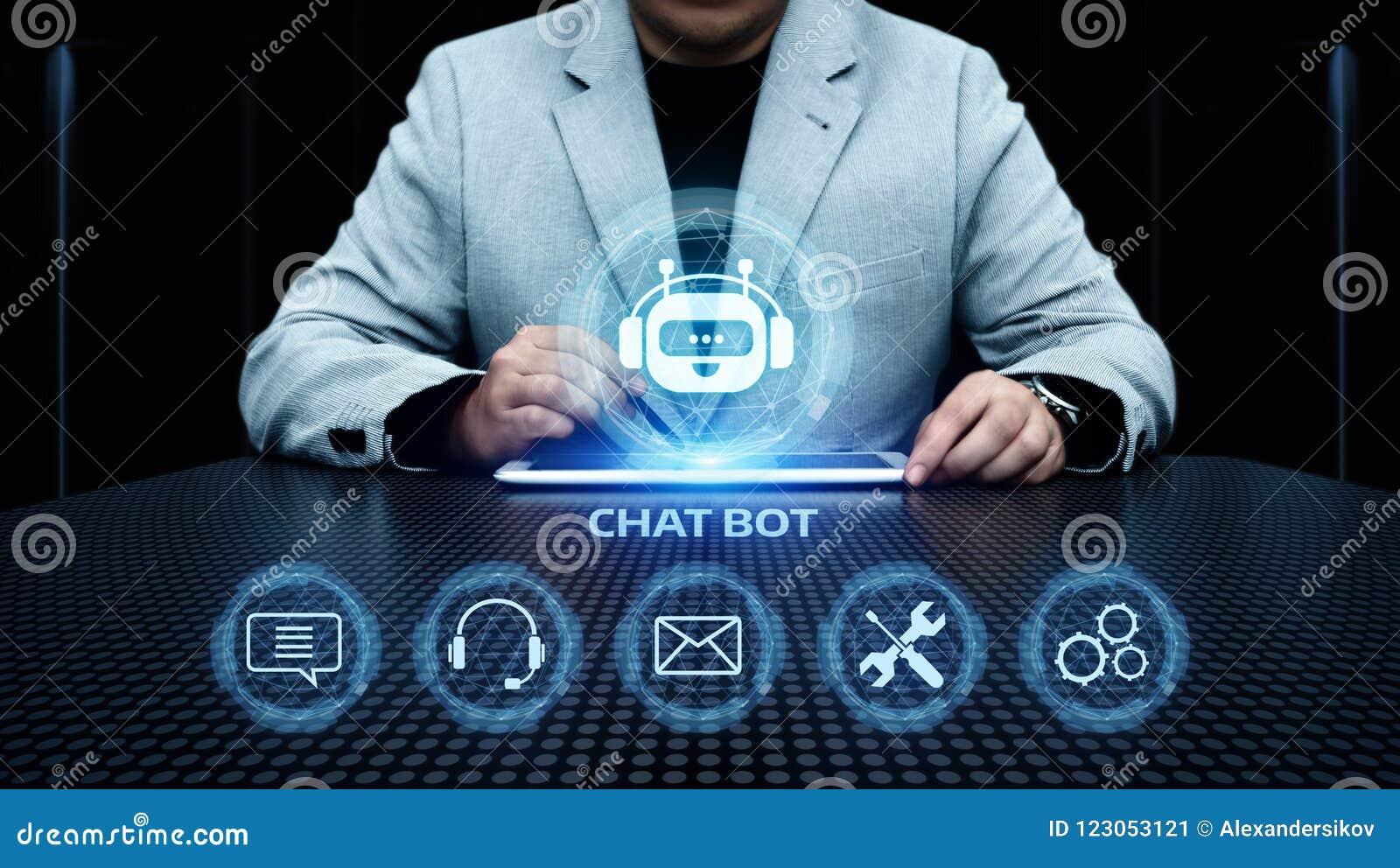 Plaudern Sie Bot Roboter-plauderndes Kommunikations-Geschäfts-Internet-Technologie-on-line-Konzept